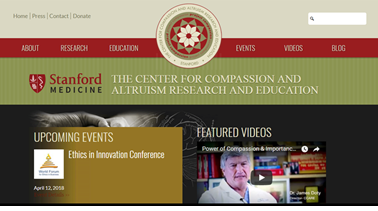 Screenshot of Stanford's Center for Compassion and Altruism Research and Education (CCARE)