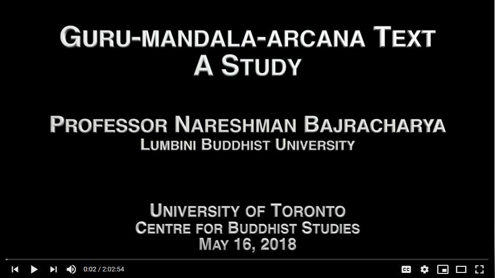Gurumandalarcana Text: A Study -- Nareshman Bajracharya at University of Toronto