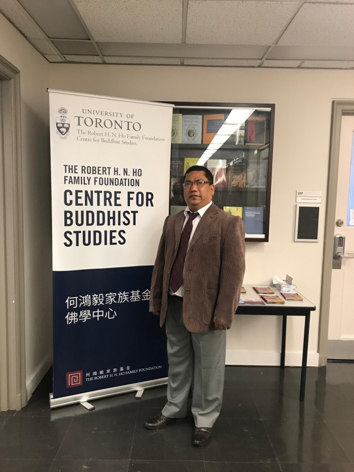 Professor Bajracharya at the Robert H.N. Ho Centre for Buddhist Studies at the University of Toronto.